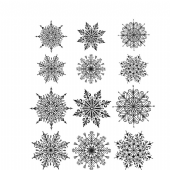 Stampers Anonymous/Tim Holtz - Cling Mount Stamp Set - Mini Swirly Snowflakes - CMS320